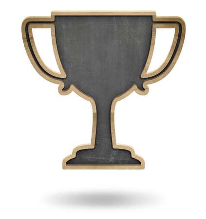 won: Black winner cup shape blackboard isolated on white