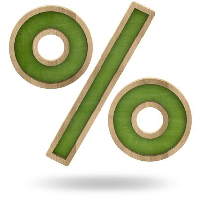 blackboard isolated: Green percent sign shape blackboard isolated on white Stock Photo