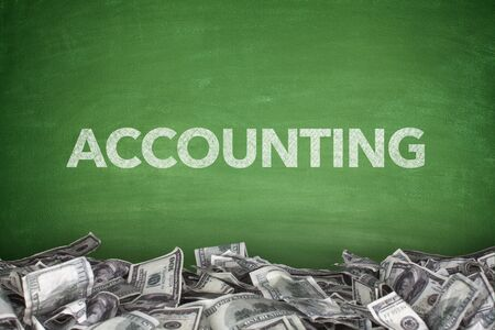 greem: Accounting word on greem blackboard with pile of dollars