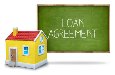 installment: Loan agreement text on blackboard with 3d house front of blackboard on white background