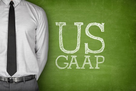 accounting: Business Acronym GAAP - Generally Accepted Accounting Principles on blackboard