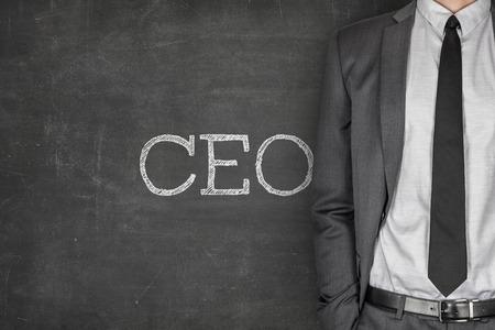 CEO on blackboard with businessman on side