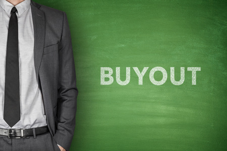 mezzanine: Buyout word on green blackboard with businessman Stock Photo