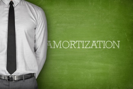 shrinking: Amortization text on blackboard with businessman on side