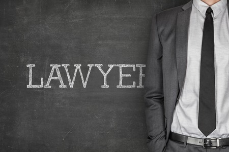 specialized job: Lawyer on blackboard with businessman in a suit on side