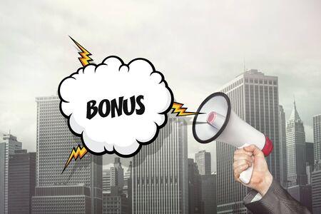 triumphant: Bonus text on speech bubble and businessman hand holding megaphone on cityscape background