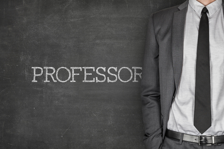 specialized job: Professor on blackboard with businessman in a suit on side Stock Photo