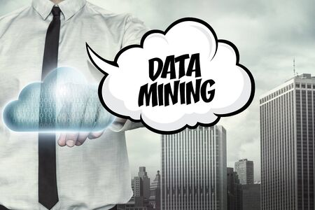 renunciation: Data mining text on cloud computing theme with businessman on cityscape background