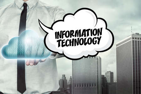 retrieve: Information technology text on cloud computing theme with businessman on cityscape background