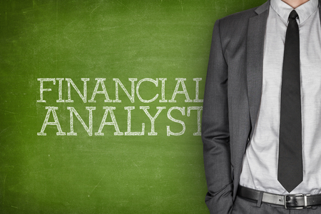 specialized job: Financial analyst on blackboard with businessman in a suit on side