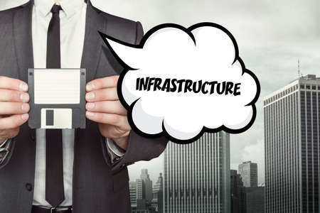substructure: Infrastructure text on speech bubble with businessman holding diskette on cityscape background