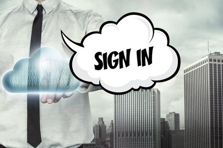 openness: Sign in text on cloud computing theme with businessman on cityscape background