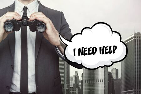 I need help text on speech bubble with businessman holding binoculars on city background