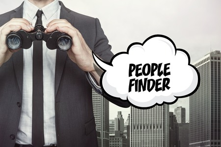 finder: People finder text on speech bubble with businessman holding binoculars on city background Stock Photo