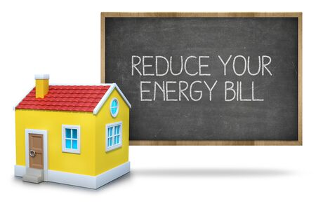 takeover: Reduce your energy bill text on blackboard with 3d house front of blackboard on white background Stock Photo
