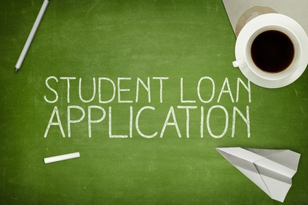 dues: Student loan application concept on blackboard with pen