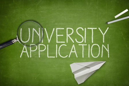 application university: University application concept on blackboard with pen Stock Photo