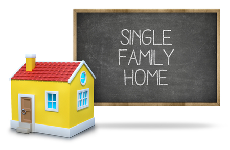single family: Single family home text on blackboard with 3d house front of blackboard on white background Stock Photo