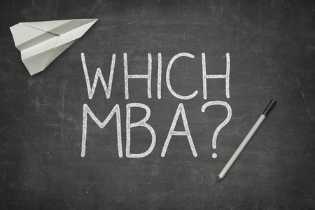 mba: Which MBA concept on blackboard with pen