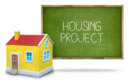 housing project: Housing project text on blackboard with 3d house front of blackboard on white background