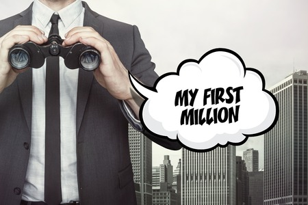 estimating: Businessman holding binoculars on city background with text