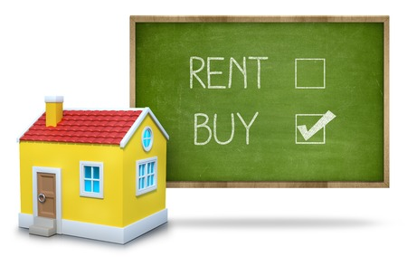 Rent vs buy concept text on blackboard with 3d house front of blackboard on white background Standard-Bild