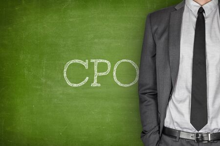 cpo: CPO on blackboard with businessman in a suit on side