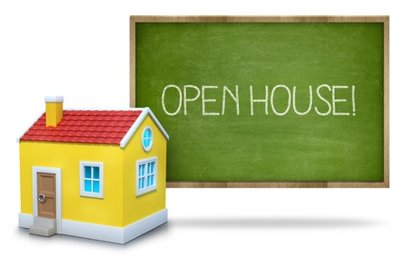 news values: Open house text on blackboard with 3d house front of blackboard on white background
