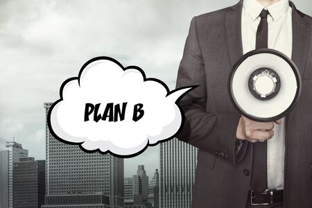 Text on speech bubble with businessman and megaphone on city background