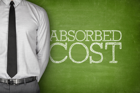 captivated: Accounting concept on blackboard with businessman standing side
