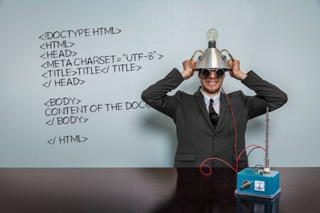 meta tags: Html Code text with vintage businessman and machine at office