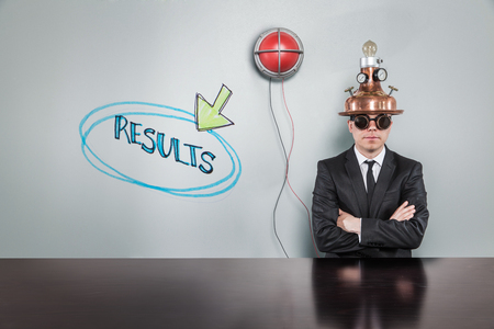 conclusions: Results text text with vintage businessman and alert light Stock Photo