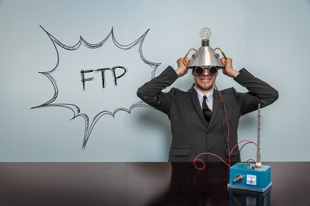 ftp: Ftp text with vintage businessman and machine at office
