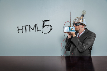 html 5: Html 5 text with vintage businessman kissing machine Stock Photo