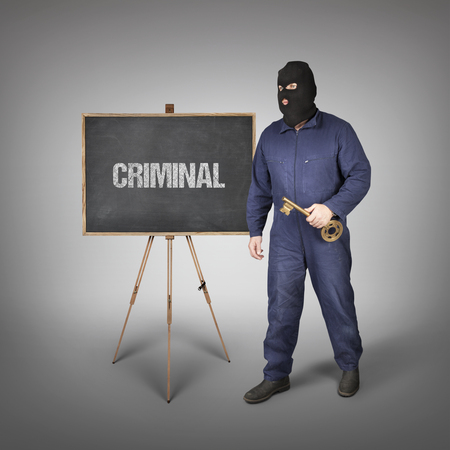 violating: Criminal text on blackboard with thief and key Stock Photo