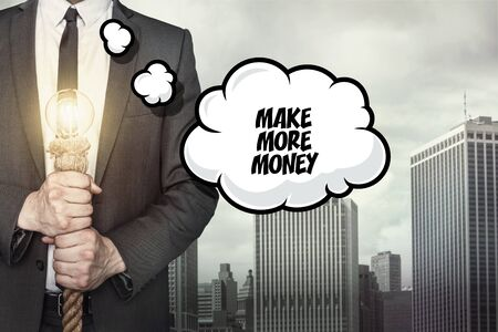more money: Make more money text on speech bubble with businessman holding lamp