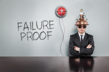 corroboration: Failure proof text with vintage businessman and alert light