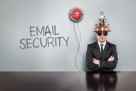 email security: Email security text with vintage businessman and alert light Stock Photo