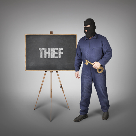 violating: Thief text on blackboard with thief and key Stock Photo