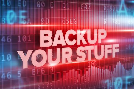 stuff: Backup your stuff abstract concept red text on red background Stock Photo