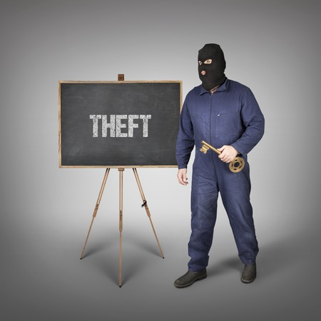 escape key: Theft text on blackboard with thief and key