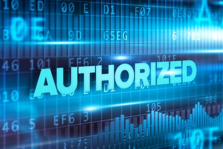 Authorized abstract concept blue text on blue background