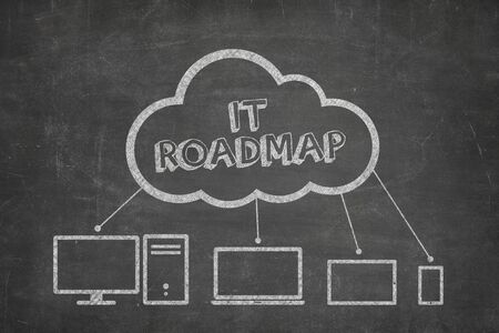 IT roadmap concept on blackboard with computer icons