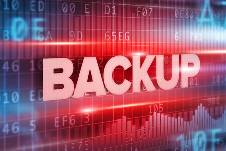Backup abstract concept blue text on blue background