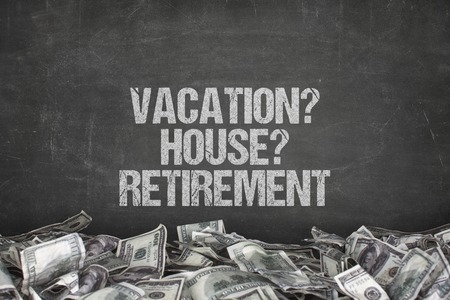 unresolved: Vacation  text text on black background with dollar pile Stock Photo
