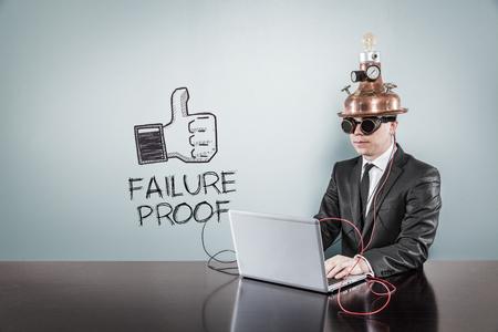 corroboration: Failure proof text with vintage businessman using laptop