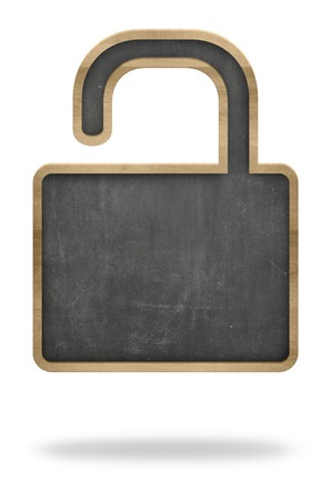 Blackboard In Open Padlock Shape Representing Public Domain Imagens