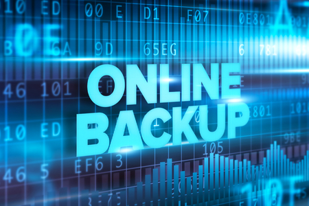 Online Backup Text On Blue Interface Screen