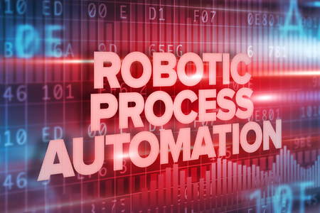 Robotic Process Automation Text Over Interface Screen Stock Photo
