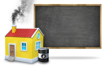 House Chimney Emitting Smoke By Oil Barrel Against Blackboard